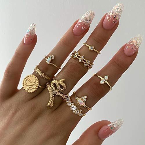 Euone Rings earance♛, Women Fashion Creative Geometric Serpentine Leaf Set of 9 Rings ()
