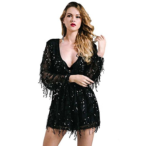 [Missord Long Sleeve Slim Soft Lining Casual Jumpsuit Romper with Sequins Black Medium] (Womens Black Sequin Short Dress)