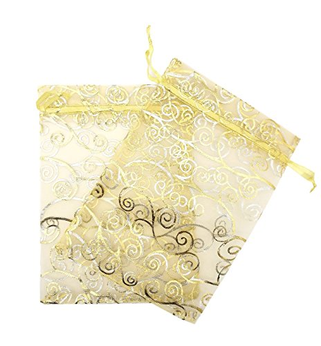 Set of 100,5x7 inches Sheer Organza Drawstring Pouches with Vines Printing for Festival Wedding Party Favor Candy Wrap Bags by JSSHI (Gold with Golden Vines)