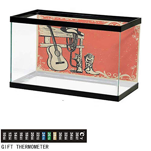 wwwhsl Aquarium Background,Western,Image of Wild West Elements with Country Music Guitar and Cowboy Boots Retro Art,Beige Orange Fish Tank Backdrop 36