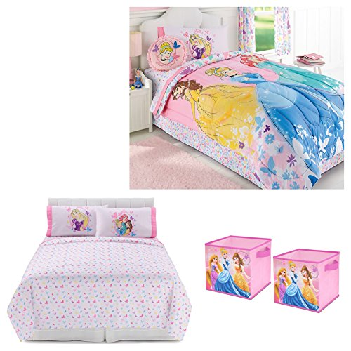 Disney Princess Reversible 6-pc. Comforter, Sheets, Pillow Case and Collapsible Storage Cubes Set - Kids