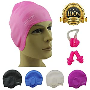 #1 Swimming Cap for Adult Men & Women,Boys & Girls. Specially Designed for Swimmers with Long,Thick,Curly Hair The Best Silicone Swim Cap On Amazon – Free Nose Clip & Ear Protection.
