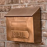 Naiture Horizontal ''mail'' Wall-mount Copper Mailbox in Antique Copper Finish