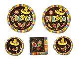 Festive Fiesta Fun Party Bundle 10 1/2'' Plates (16) 7'' Plates (16) Napkins (16)
