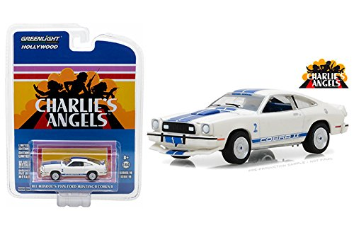 New 1:64 Greenlight Hollywood Series 19 Collection - Jill Munroe's Ford Mustang II Cobra II White Charlie's Angels (1976-1981 TV Series) Diecast Model Car By (Charlie Light)
