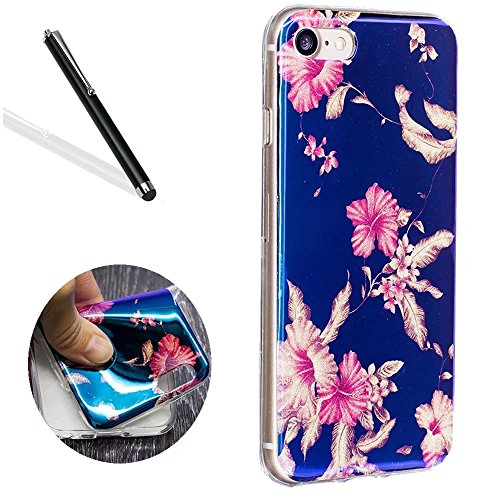 Azalea Pattern - Leecase Pretty New Fashion Creative Pink Azalea Flower Pattern Design TPU Ultra Thin Soft Flexible Protective Glitter Phone Case Cover Bumper Shell for iPhone 6S/6 4.7