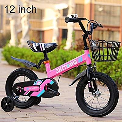 Baby Toys 12 inch Fashion Version Children High Carbon Steel Frame Balance Car Pedal Bicycle with Front Basket & Bell, Recommended Height: 90-105cm(Pink) Baby Items (Color : Pink): Baby