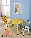 HOME HUT Kids Wooden Table Chairs Set - Childrens Toddler Animal Jungle Themed Gift