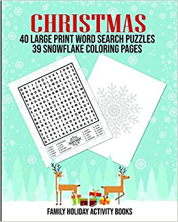 Christmas 40 Large Print Word Search Puzzles 39 Snowflake Coloring