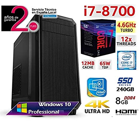 PC Ordenador Sobremesa Intel Six Core i7 8700 up to 4,6Ghz x 6 ...