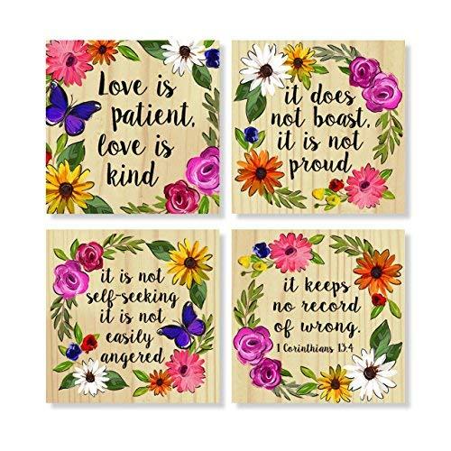 Love is Patient Kind - Posavasos de 4 x 4 pulgadas con diseño floral en caja de regalo, juego de 4