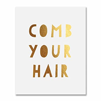 Comb Your Hair Gold Foil Print Poster Kids Bathroom Wall Art Gold Home Decor 8 inches x 10 inches E28