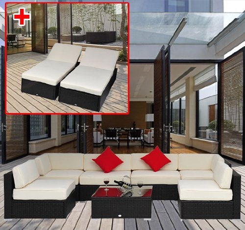 9 Pieces Outdoor Rattan Sofa Wicker Sectional Patio Garden Furniture Lounge Chair