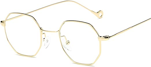 Fashion Men Women Vintage Style Sunglasses Hexagon Square Gold Frame NEW US