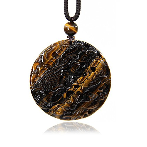 - Golden Tiger Eye Gemstone Dragon and Phoenix Amulet Charm Pendant Necklace 20