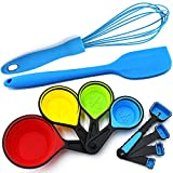Silicone Whisk - Collapsible Measuring Cups and Spoons - Baking Spatula - 10 Piece Set - Cooking Kitchen Utensils