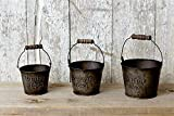 Set/3 Reproduction Vintage 1843 Small Metal Buckets Primitive, Country, Rustic