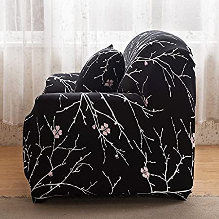 Funda protectora para sofá, de tela de alta elasticidad, para sofá de 1 a 3 plazas, color negro, negro, 2 Seater