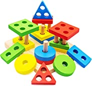 Conikus Wooden Educational stacking Toys for 1 2 3 Year Old, Montessori stacking Toys for Toddlers, 5.7 inches