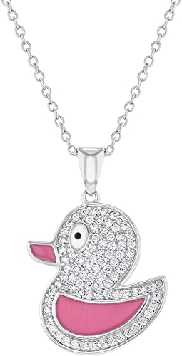 """925 Sterling Silver Clear CZ Pink Enamel Duck Necklace Pendant for Girls 16/"""""""