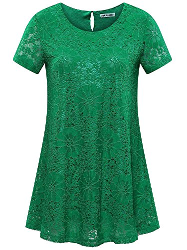 MSBASIC Green Tunic Tops, Flare Tunic Top Shirts for Women L