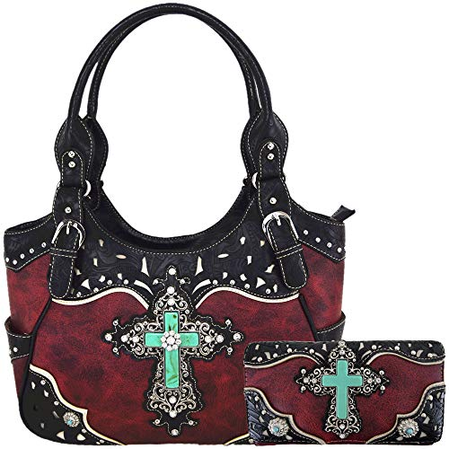 Western Tooled Leather Purse - Western Rhinestone Cross Tooled Leather Totes Concealed Carry Purse Handbag Women Shoulder Bag Wallet Set (#2 Red Set)