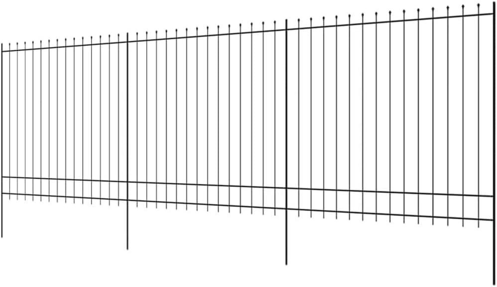 Tidyard Valla de Seguridad para Jardin con Punta Puntiaguda,Valla Estacada de Jardin,Valla de Acero,Negro 600x175cm