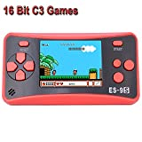 "Retro Handheld Game Console for Kids Portable Game Player Mini Arcade Gaming System with Build in 16 Bit 168 Classic Video Old Style Games 2.5"" Color LCD Screen (Red+Black)"