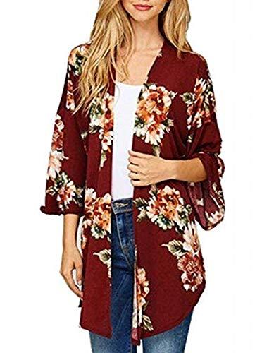 Printemps Automne Femmes Cardigan Casual Manches Longues Veste Hauts Manteau Pulls Mode Imprime Tops Gilets Outwear Coat Chandail Rouge