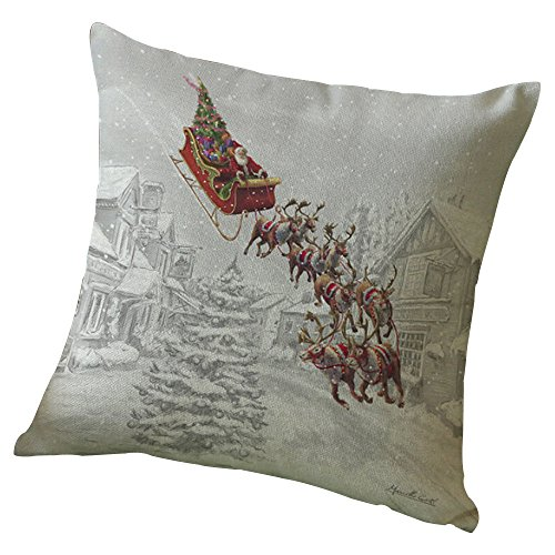 iYBUIA Christmas Elk Printing Dyeing Sofa Bed Home Decor Pillow Cover Cushion Cover]()