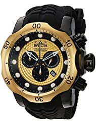 Invicta Mens Venom Swiss Quartz Stainless Steel and Silicone Casual Watch, Color:Black (Model: 20444)