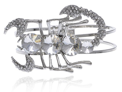 Toned Crystal Rhinestone (Sliver Toned Clear Crystal Rhinestone Jewel Bodied Scorpion Cuff Bangle)