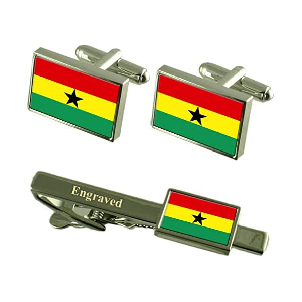 Ghana-Flag-Cufflinks-Engraved-Tie-Clip-Matching-Box-Set