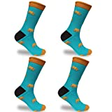 BambooMN Men's Cotton Novelty Fun Design Socks - Big Brown Bear - 4 Pairs