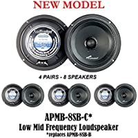 4 PAIR Audiopipe 8 250W Low Mid Frequency Loud speakers FULL RANGE APMB-8SB-C
