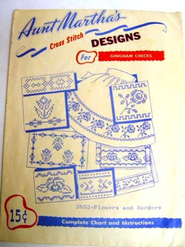 Check Needlepoint - Aunt Martha's Cross Stitch Designs Hard to Find Flowers and Borders for Gingham Checks