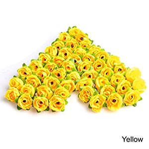 Mimgo Store 50Pcs Roses Artificial Silk Flower Heads DIY Small Bud Party Wedding Home Decor (Yellow) 72