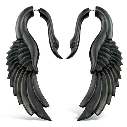 (Fake Gauge Earrings Hand Carved Horn Yafah Swans Fake Plugs)