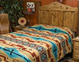 Mission Del Rey Plush Southwestern Bedspread QUEEN Size - Hopi Tan