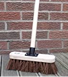 "10"" Stiff Sweeping Yard Brush, Natural Hard Broom Stiff Brush with Handle"