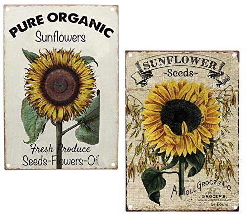 Pure Organic Sunflower Seeds Metal Tin Sign  Size 2Pcs-8X12Inch