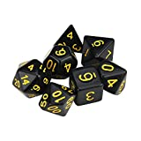 Lanhui 7pcs/Set Creative Game Dungeons & Dragons Polyhedral D4-D20 Multi Sided Acrylic Dice (2-2.5cm, Yellow)