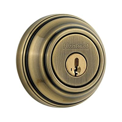 Kwikset 980 Single Cylinder Deadbolt featuring SmartKey in Antique Brass