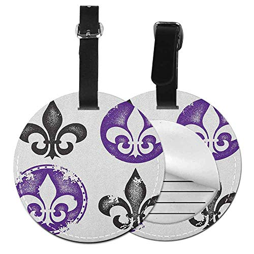 Modern round luggage tag Fleur De Lis Soft to the touch Collection of Fleur De Lis Designs Silhouettes Vintage Artistic Spiral Art,Diameter3.7