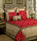 Sherry Kline Synergy Red Comforter Set, Queen,Red, 8 Piece