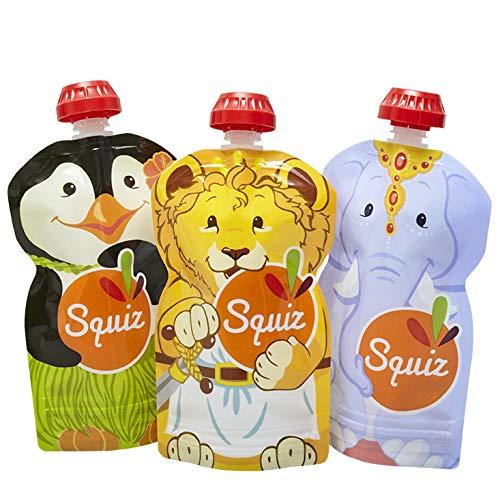 3er Pack Quetschie von SQUIZ 130 ml – der EINZIGE wiederverwendbare Quetschbeutel MADE IN SWITZERLAND, hält Dank patentiertem Druckverschluss garantiert dicht, für Smoothies, Joghurt oder Babybrei, BPA, BPS, PVC und Phthalate-frei für Smoothies SQUIZCARN03
