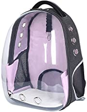 LEMONDA Creative Transparent Pet Backpack Carrier Breathable Capsule Traveler Airline Approved for Cats and Dogs (Pink)