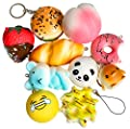 PoshPeanut 10 Random Kawaii Squishy Slow Rising Cute Japanese Fruit Bread Dessert Animals Kitchen Squishy Toy Charms for Adults and Kids from PoshPeanut