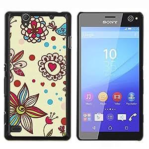 Eason Shop / Premium SLIM PC / Aliminium Casa Carcasa Funda Case Bandera Cover - Pétalo Bloom Corazones de San Valentín - For Sony Xperia C4
