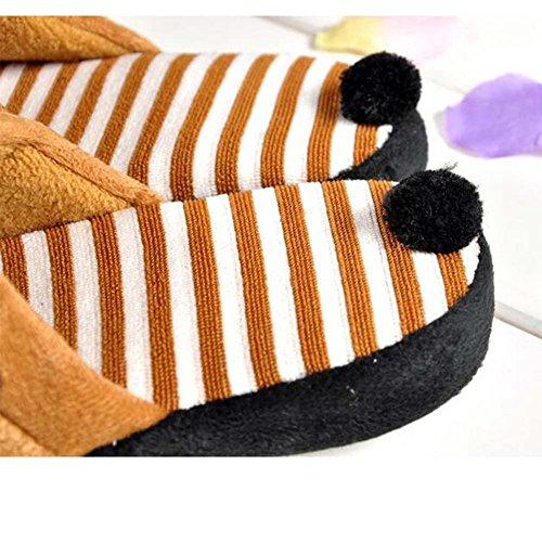 Belle Bande Dessinée Panda Pantoufle Hiver Chaussures Dintérieur Chaudes Brun